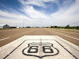 Route 66 Marker on Highway, Tucumcari, New Mexico, Usa Photographic Print by Paul Souders