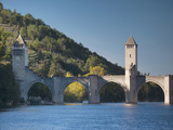 Lot River, Medieval Bridge, Pont Valentre, Cahors, Lot Department, Midi-Pyrenees Region, France Photographic Print by Walter Bibikow