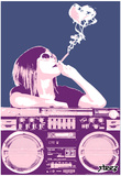 Steez Boom Box Joint - Pink Art Poster Print Print