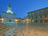 Palazzo Comunale (City Hall) and Palazzo Tanugi at Dawn, Montepulciano, Tuscany, Italy Photographic Print by Rob Tilley