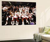 Miami, FL - June 21:  The Miami Heat pose for a team photo after defeating the Oklahoma City Thunde Wall Mural by Issac Baldizon