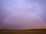 Rainbow Forming at Sunrise Above Arid Pampas Grassland Steppe Photographic Print by John Eastcott & Yva Momatiuk