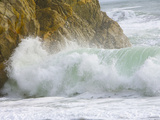 High Tide Surf Wave Crashing on Coastal Rocks and Beach in Winter Photographic Print by John Eastcott & Yva Momatiuk