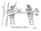 Two firemen stand on ladders at either end of a tree branch, where a cat i… - New Yorker Cartoon Premium Giclee Print by Eric Lewis