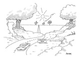 A car on a winding road heads for a straight road that leads to a simple, … - New Yorker Cartoon Premium Giclee Print by Jack Ziegler