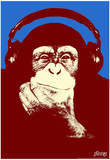 Steez Headphone Chimp - Red Art Poster Print Poster af Steez