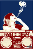 Steez Boombox Joint - Navy/Red Art Poster Print Prints