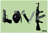 Love (Weapons) Green Steez Poster Print by  Steez