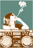 Steez Boombox Joint - Gold Art Poster Print Prints