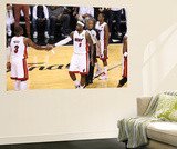 Miami, FL - June 21:  Miami Heat and Oklahoma City Thunder Game Five, LeBron James and Dwyane Wade Poster by Joe Murphy