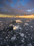 Ice Chunks, Calm Sea, Glacier, Mountains and Cumulus Clouds at Sunset Photographic Print by John Eastcott & Yva Momatiuk