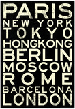 Cities of the World RetroMetro Travel Poster Affiche