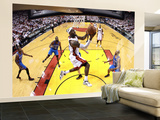 Miami, FL - June 21:  Miami Heat and Oklahoma City Thunder Game Five, LeBron James and Derek Fisher Wall Mural – Large by Ronald Martinez