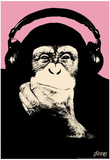 Steez Headphone Chimp - Pink Art Poster Print Posters by  Steez