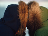 Inuit Eskimos Indulge in a Traditional Nose Touching Kiss Photographic Print by John Eastcott & Yva Momatiuk