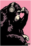 Steez Monkey Thinker - Pink Art Poster Print Prints