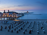 Pier at Sellin and Beach Cabins (Strondkorbes), Rugen Island, Baltic Coast, Mecklenburg-Western Pom Photographic Print by Peter Adams