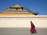 Mongolia, Ulaanbaatar, Monk at Gandan (Gandantegchenling) Monastery, Photographic Print by Jane Sweeney