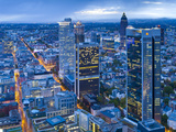 City Centre from Above at Dusk, Frankfurt, Hesse, Germany, Europe Photographic Print by Gavin Hellier