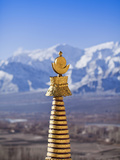 India, Ladakh, Thiksey, the Golden Finial of a Chorten at Thiksey Monastery Photographic Print by Katie Garrod