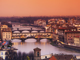Italy, Florence, Tuscany, Western Europe, &#39;Ponte Vecchio&#39; and Other Bridges on the Arno River and S Photographic Print by Ken Scicluna