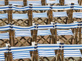 Rows of Traditional Blue and White Deckchairs, Eastbourne, Sussex, Uk Photographic Print by Nadia Isakova