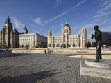 The Pier Head with the Royal Liver Building, the Neighbouring Cunard Building and Port of Liverpool Photographic Print by David Bank