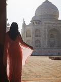 Woman in Sari at Taj Mahal, Agra, Uttar Pradesh, India (Mr) Photographic Print by Ian Trower