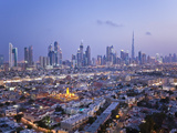 United Arab Emirates, Dubai, Skyline of Modern Skyscrapers Including the Burj Khalifa on Sheikh Zay Photographic Print by Gavin Hellier