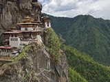 Taktshang Goemba, 'Tiger's Nest', Bhutan's Most Famous Monastery, Perched Miraculously on Ledge of  Photographic Print by Nigel Pavitt