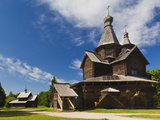 Russia, Novgorod Oblast, Veliky Novgorod, Vitoslavitsky Museum of Wooden Architecture, Traditional  Photographic Print by Walter Bibikow