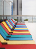 Uae, Dubai, Colourful Hotel Loungers Photographic Print by Gavin Hellier