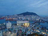 Korea, Gyeongsangnam-Do, BUSAn, View of Harbour and Lotte Tower from BUSAn Tower Fotografiskt tryck av Jane Sweeney