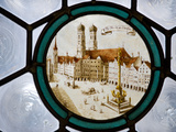 Germany, Bavaria, Munich, Detail of Stained Glass Window Depicting Fraenkirche from Marienplatz, in Photographic Print by John Warburton-lee