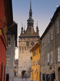 Clock Tower and Medieval Old Town, Sighisoara, Transylvania, Romania Photographic Print by Doug Pearson