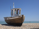 England, Kent, Deal, Old Wooden Fishing Boat on the Shingle Beach at Deal Photographic Print by Katie Garrod