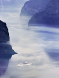 Norway, Western Fjords, Aurland Fjord, Overview of Cruise Ship in Fjord Photographic Print by Shaun Egan