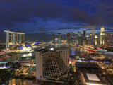 Singapore, Aerial View of Singapore Skyline and Esplanade Theathre Photographic Print by Michele Falzone