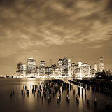 USA, New York, Morning View of the Skyscrapers of Downtown Manhattan from the Brooklyn Heights Neig Lámina fotográfica por Gavin Hellier