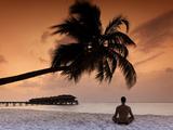 Maldives, Meemu Atoll, Medhufushi Island, Man Meditating on the Beach (Mr) Photographic Print by Michele Falzone