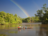 Venezuela, Delta Amacuro, Orinoco Delta, Warao People in Boat on Nararina River with Rainbow in Sto Photographic Print by Jane Sweeney
