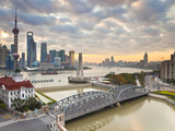 New Pudong Skyline; Waibaidu (Garden) Bridge; Looking across the Huangpu River from the Bund; Shang Photographic Print by Gavin Hellier