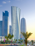 Qatar, Doha, Left to Right Palm Tower, Al Bidda Tower and Burj Qatar Fotografie-Druck von Alan Copson