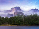 Venezuela, Guayana, Canaima National Park, Mist Swirls Round Angel Falls at Sunrise Photographic Print by Jane Sweeney