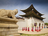 Korea, Seoul, Gyeongbokgung Palace, Haetae, a Stone Mythical Creature Infront of Gwanghwamun - the  Photographic Print by Jane Sweeney