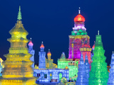 China, Heilongjiang Province, Harbin, Ice Sculptures at the Harbin Ice and Snow Festival Photographic Print by Nick Ledger