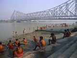 India, West Bengal, Kolkata (Aka Calcutta), Morning Bathers Complete their Ablutions by the Hooghly Photographic Print by Amar Grover
