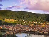 Germany, Bavaria, Heidelberg, Overview of Alte Brucke and the River Neckar Photographic Print by Shaun Egan