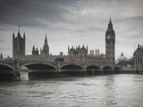 Big Ben, Houses of Parliament and Westminster Bridge, London, England, Uk Lámina fotográfica por Jon Arnold