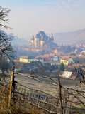 Elevated View over Biertan at Sunrise, Biertan, Nr, Sighisoara, Transylvania, Romania Photographic Print by Doug Pearson